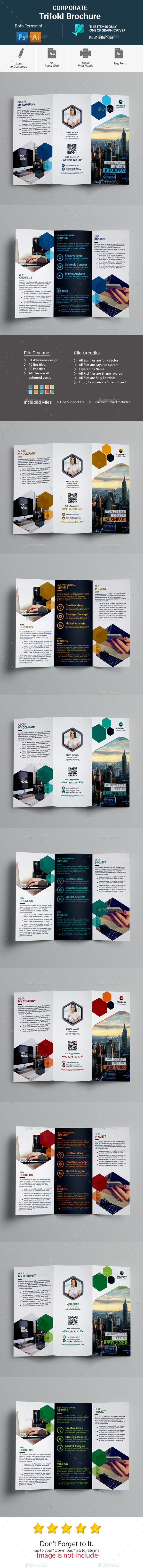 Corporate #Trifold #Brochure - #Corporate Brochures Download here:  https://graphicriver.net/item/corporate-trifold-brochure/20291364?ref=alena994