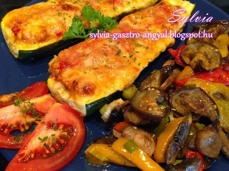 Sylvia Gasztro Angyal: Töltött cukkini olaszosan, sült zöldségekkel