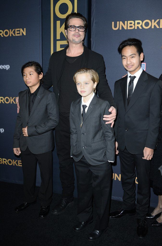 Brad Pitt and His Kids Hit the Red Carpet For Angelina: Although Angelina Jolie may have the chicken pox, Brad Pitt and their kids made sure to show their support for her new film, Unbroken, by stepping out for the film's LA premiere on Monday.