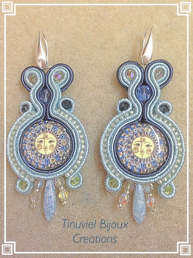 Soutache earrings with lava ceramic