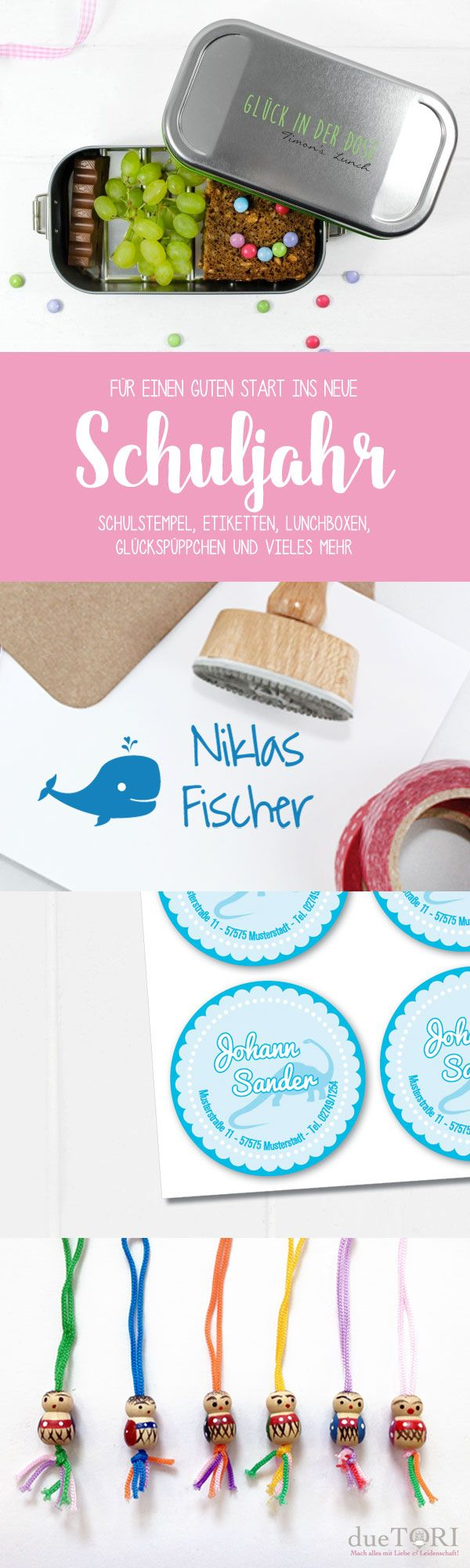 Du suchst noch ein schönes Geschenk zur Einschulung? Wie wäre es mit einer personalisierten Lunchbox, einem Stempel für Deine Schulbücher oder Klebeetiketten mit dem Namen Deines Kindes!