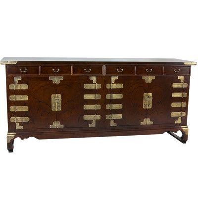 Oriental Furniture Korean Double Cabinet Credenza