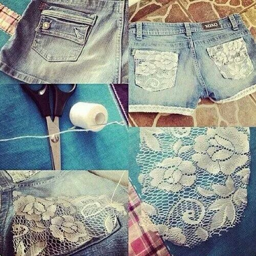 Add lace to back pockets