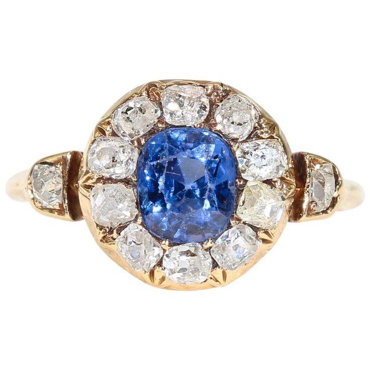 Victorian Sapphire Diamond Cluster Ring 1