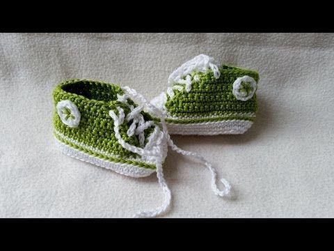 Babyschuhe häkeln – Turnschuhe – Sneakers - Teil 1 - Sohle by BerlinCrochet - YouTube