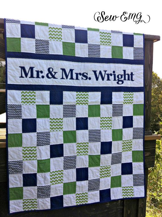 Wedding Quilt Patchwork Monogram Name Quilt Custom Made by SewEMG
