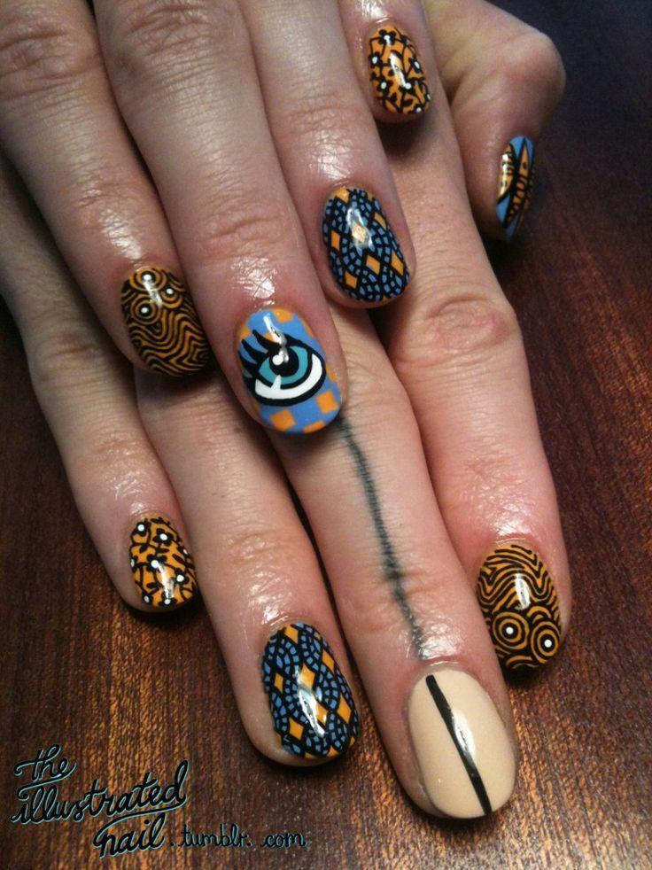 Pinterest rican inspired nail art 16 african print nails illustrated ankara nail art 2 prinsesfo Images