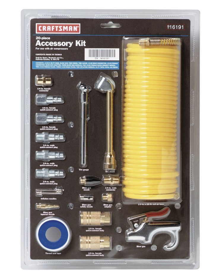 Craftsman Air Compressor Accessory Kit Portable Compressor Parts, 20-Piece #Craftsman $31  http://www.ebay.com/itm/Craftsman-Air-Compressor-Accessory-Kit-Portable-Compressor-Parts-20-Piece-/261754207466