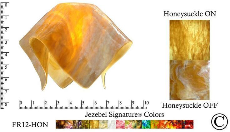"""Jezebel Signature® Small Flame Honeysuckle Glass Pendant Replacement Glass Shade, 1 5/8"""" hole"""