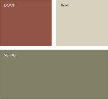 Earthy exterior color combo - soft, gray green, muted brick red door and off-white trim with green undertones