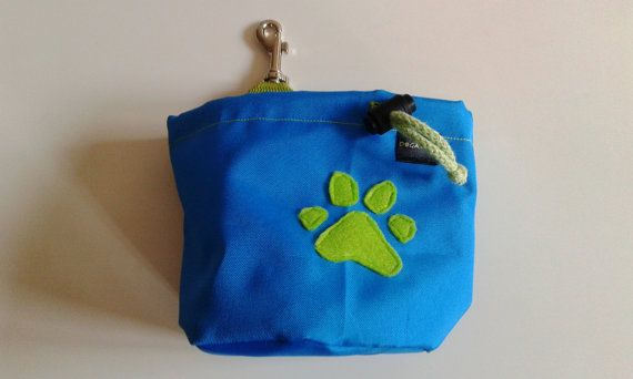 Blue dog treat bag with a paw motif by DoGATAilla on Etsy