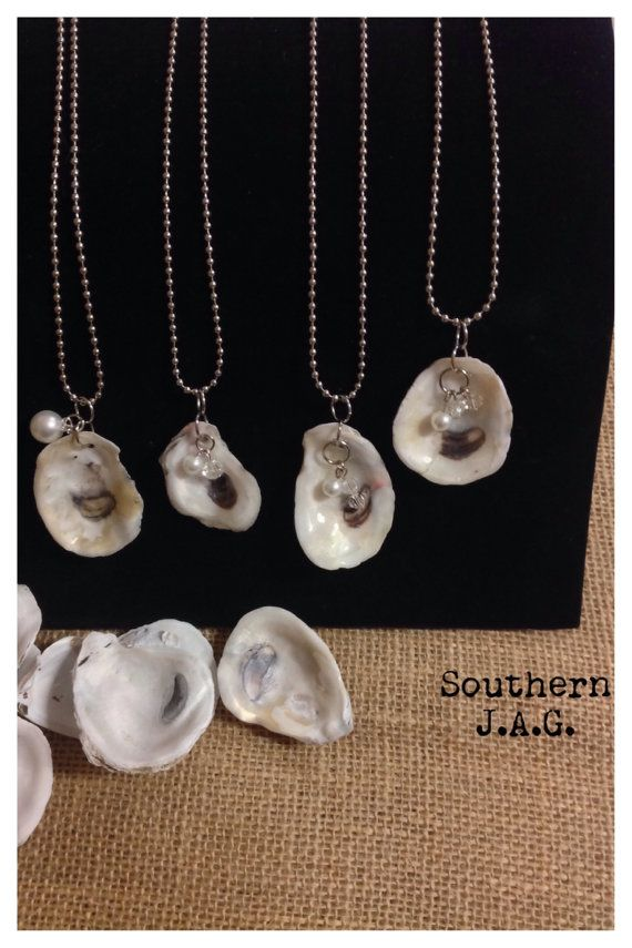 Oyster shell necklace by southernjaglouisiana on Etsy, $10.00