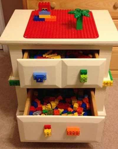 A bedside table modifies into a Lego desk. | 28 Household Items You Can Repurpose For Your Kids