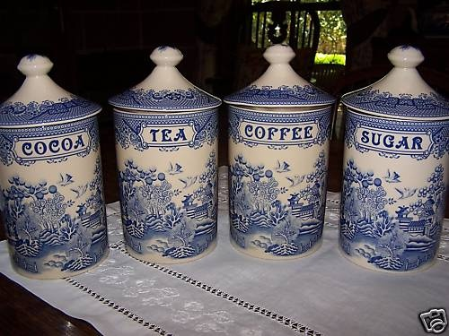 Blue Willow 4 Piece Canister Set Tea Coffee Air Seal