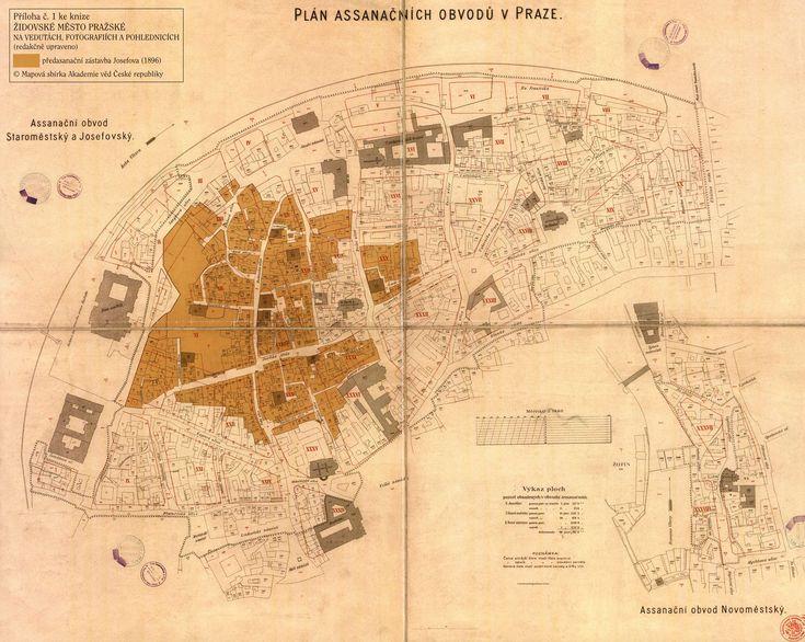 Mapa starého židovského města před asanací, pod ní je vidět nové vedení ulic / Map of the old Jewish quarter before renewal, under are seen new streets