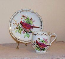 Vintage Cardinal Bird Porcelain Tea Cup and Saucer: