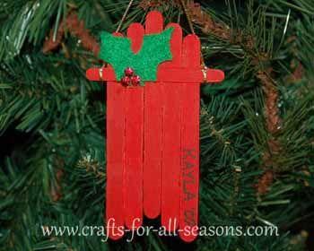 sled ornament: popsicle sticks