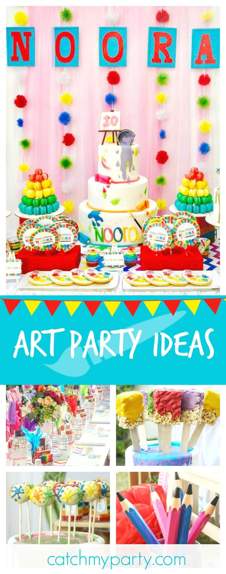 Check out this awesome Art Studio birthday party. The paintbrush krispie treats are fantastic!! See more party ideas and share yours at CatchMyparty.com