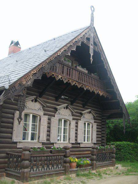 Russian-style wooden houses in Alexandrovka, the old Russian village