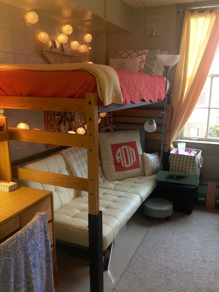 Cute, preppy dorm room - LOVE the couch underneath, it fits perfectly and would be great for friends visiting