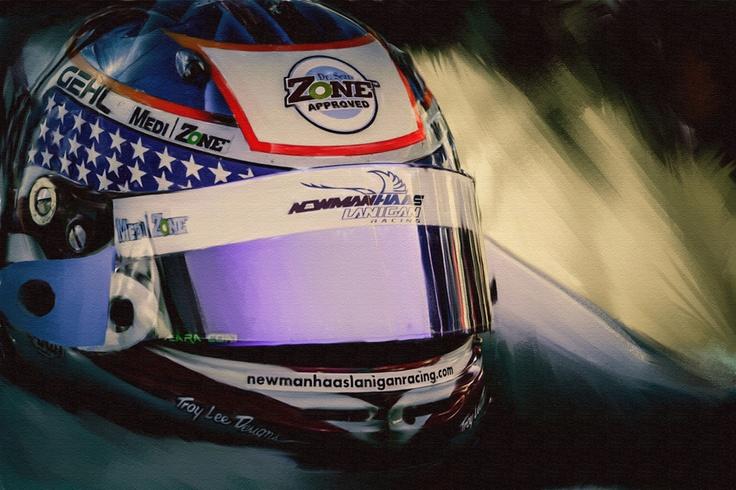 Painted photo of Graham Rahal' helmet. Original image shoot at the 2007 Edmonton Gran Prix.