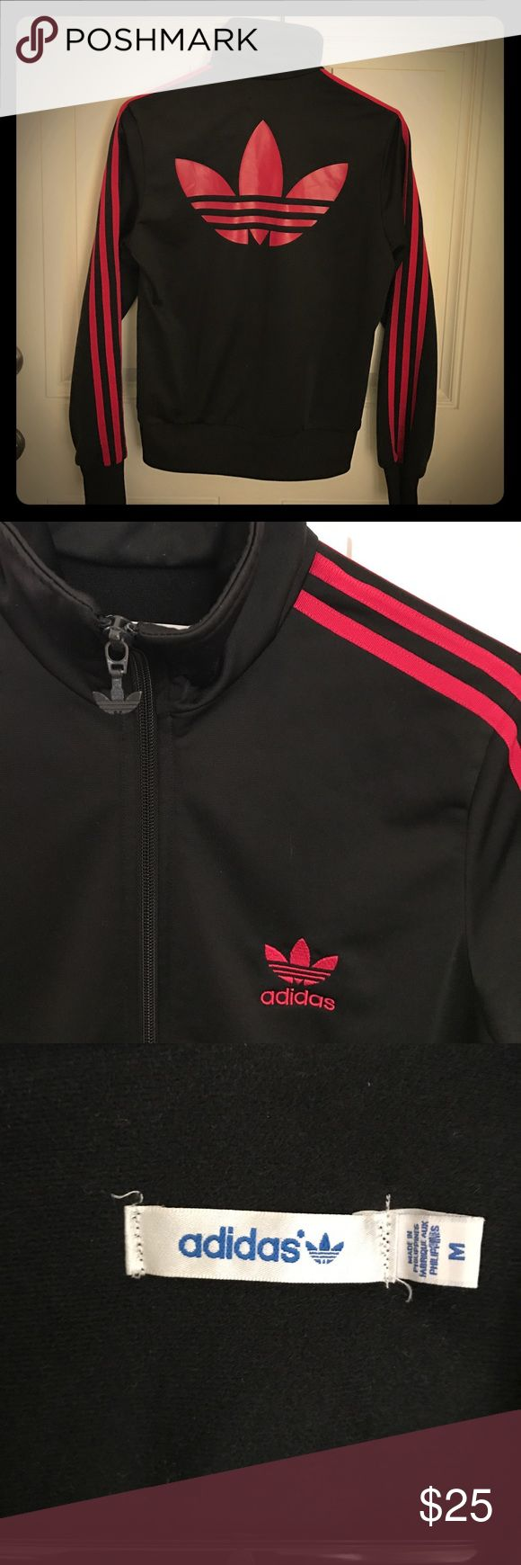 Vintage Adidas zip up track jacket. Dark pink/ almost red and black. Perfect condition. I hate to let this gem go but I live in Florida and can't ever wear her! She needs love. adidas Jackets & Coats