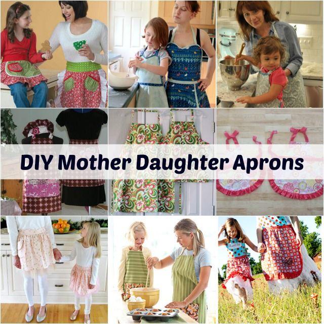 DIY Mother Daughter Aprons #aprons #mommyandme #roundup