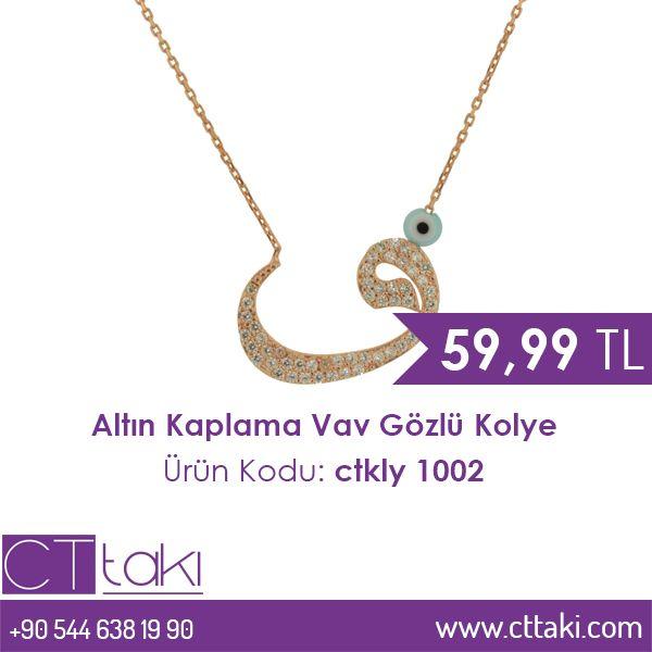Altın Kaplama Vav Gözlü Kolye. 59.99 TL fiyatı ile CT Takı'da. #altın #kaplama #vav #göz #kolye #takı #fiyat #takıdünyası #cttakı