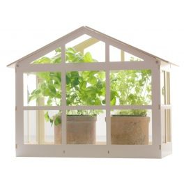 Wooden miniature glasshouse for growing plants. Made by Neo-Spiro.