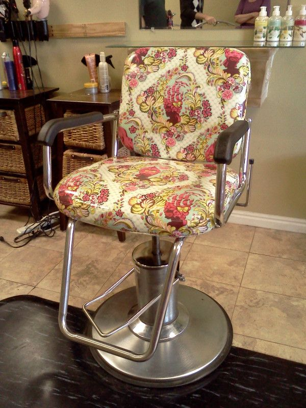 Tula Pink fabric used to recover a salon chair. LOVE!!!
