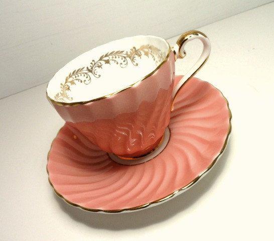 Aynsley England Bone China Pink Teacup and Saucer, Vintage Cup and Saucer, Vintage Dishes