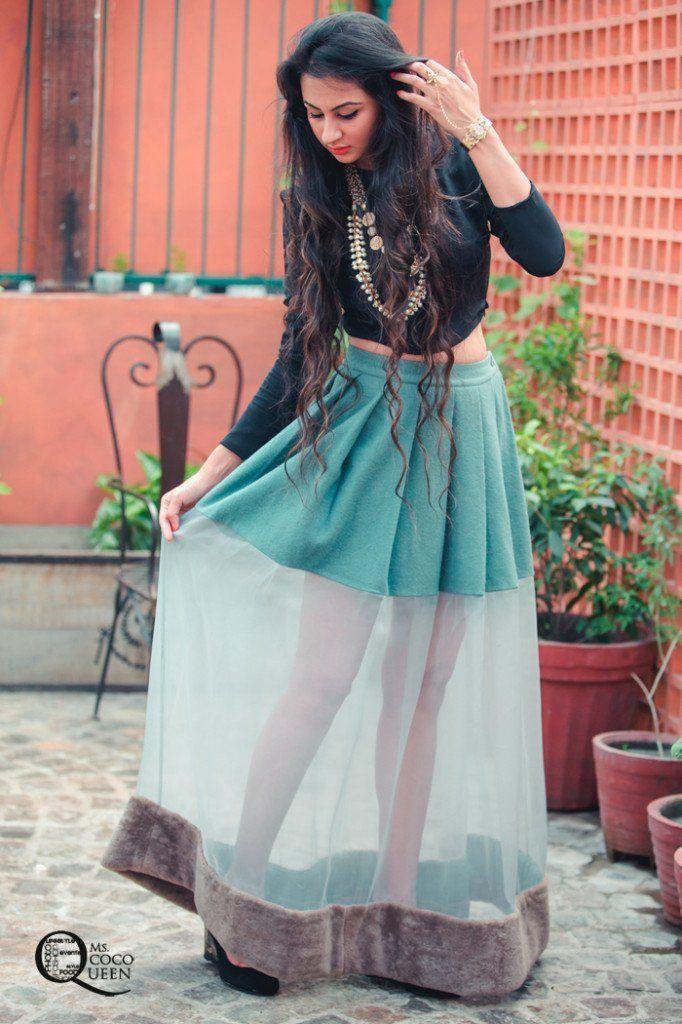Fusion Indian Look Croptop Sheer Pleated Skirt By Huemn