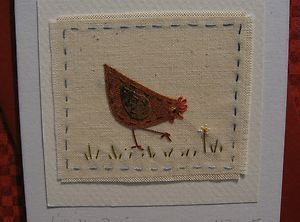 Handstitched card made by Helen Drewett LITTLE HEN PECKING see more in my shop! | eBay