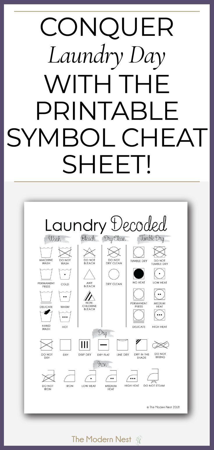 Printable Laundry Symbols Cheat Sheet Laundry Symbols Laundry