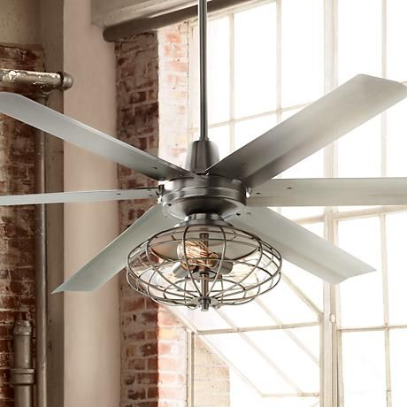 An industrial inspired ceiling fan with included vintage style cage light kit