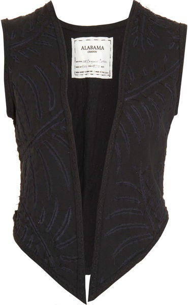 Alabama Chanin Black Fern Vest