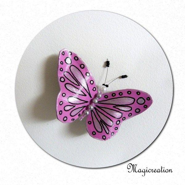 MAGNET PAPILLON VINYLE ROSE ET ARGENTE - Boutique www.magicreation.fr