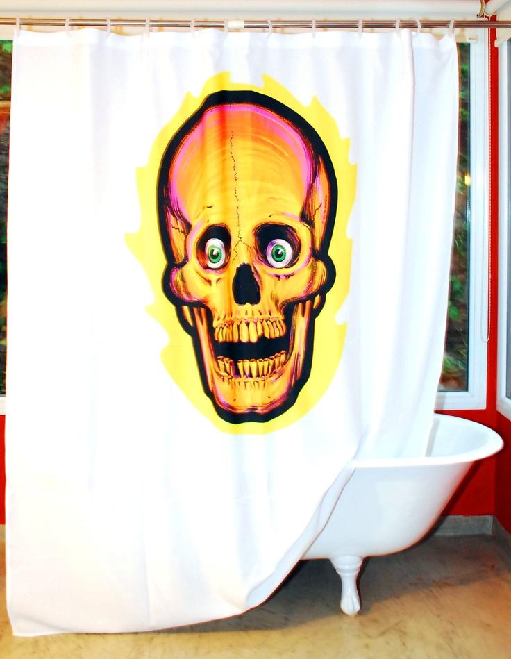 Cortina de baño CALAVERA DON´T! Lavable! La podes planchar!  Tela 100% poliester!