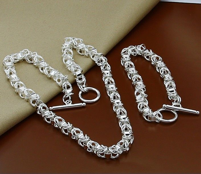 T308 Christmas Jewelry Sets,high quality link chain towel Man,Women charms 925silver jewelry sets,wholesale fashion jewe