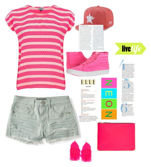 """""""neon pink"""" by arianak16 on Polyvore featuring Aéropostale, Mercy Delta, Comme des Garçons, Vans, Humble Chic and New Era"""
