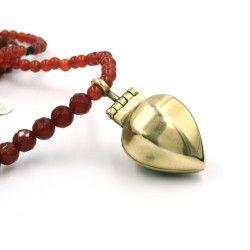 Susanna Strati, Amulet Locket Necklace, Bronze & red gate, faceted onyx, carnelian, heamatite beads - $365