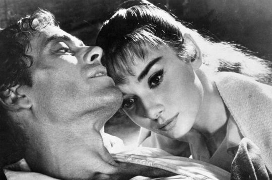 "Audrey Hepburn in the Broadway production of ""Ondine"". Soon-to-be husband Mel Ferrer as the doomed knight Online loves, left."