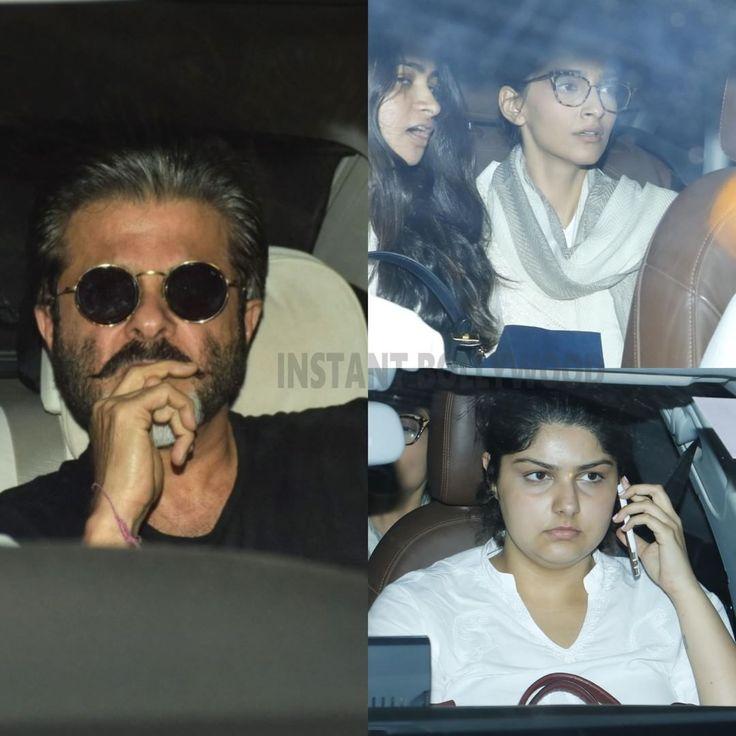 "Anil Kapoor, Sonam Kapoor & Arjun's sister Anshula Kapoor leave Anil Kapoor's residence to be at…"""