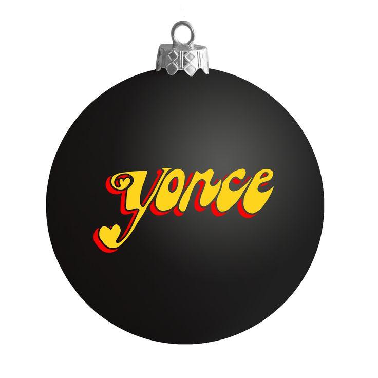 Yoncé Black Satin Ball Ornament - Beyonce