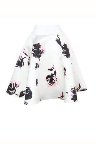 Print floral: manual de estilo del estampado de primavera. Falda evasée estampada de Christian Dior (c.p.v.).