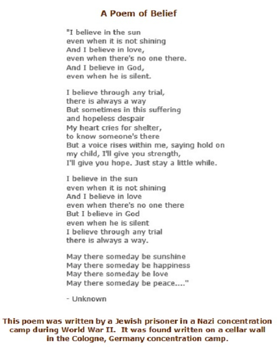 A Poem of Belief by a Jewish Prisoner in a Nazi Concentration Camp ...