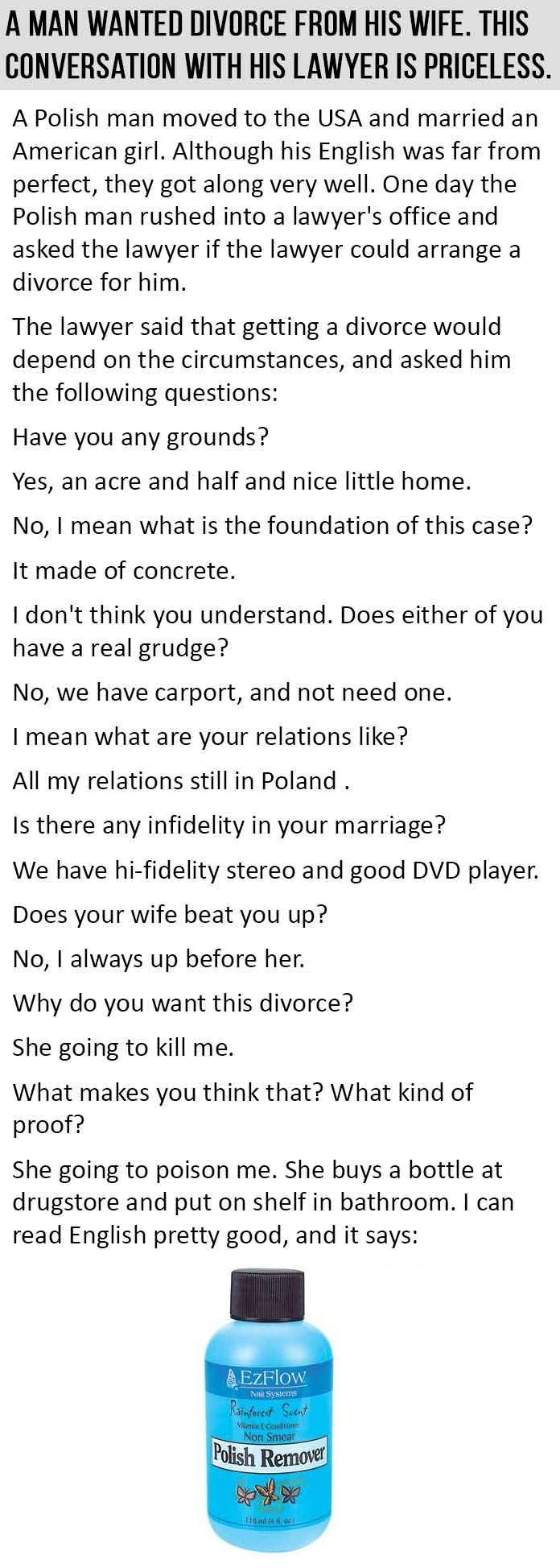 Man Wants To Divorce His Wife The Conversation With His Lawyer Is Hilarious funny jokes story