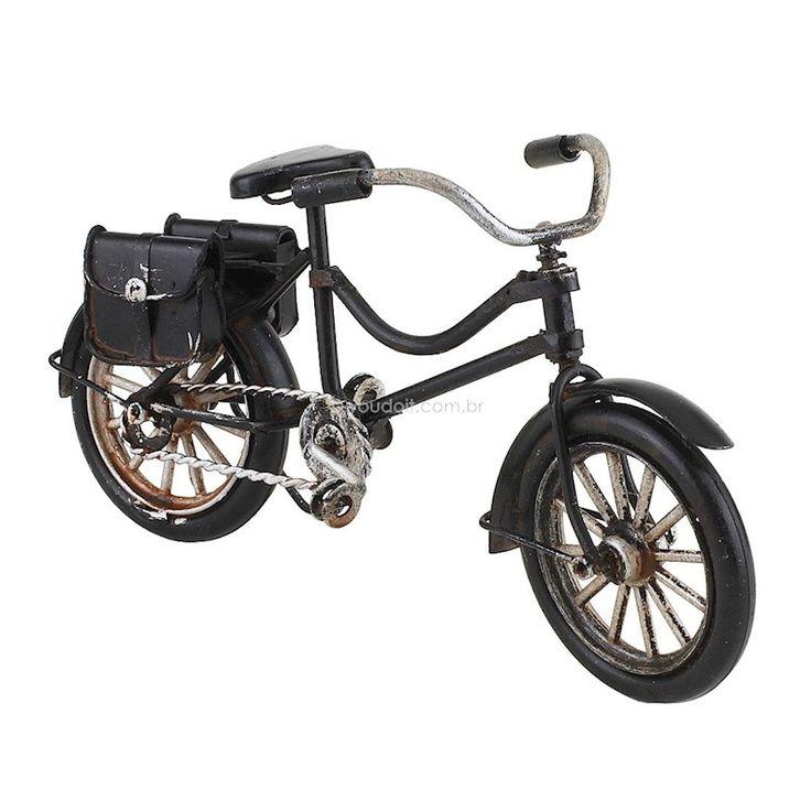 Bicicleta Decorativa Vintage Bagageiro Preta (16cm)