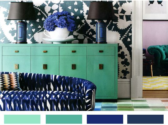 Navy Blue, Cobalt And Mint Green Decor Ideas With Black Accents   Home Decor  Color Palette Ideas