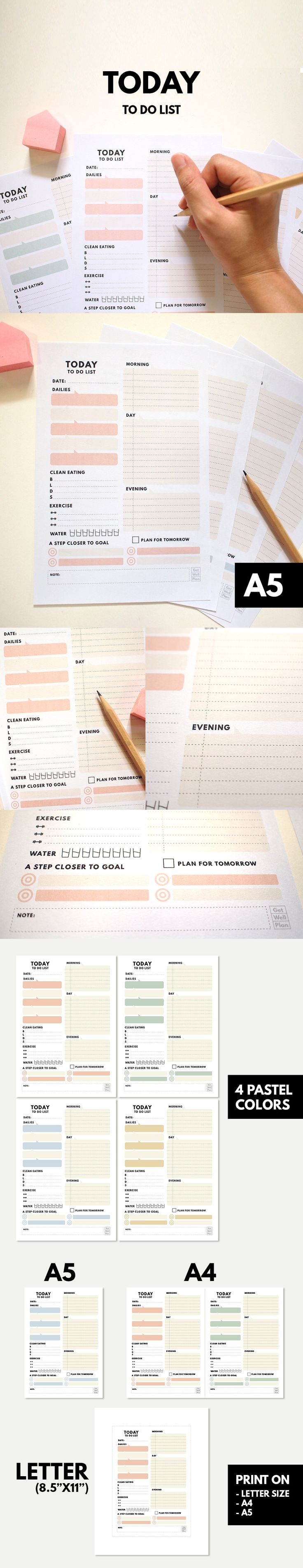 "Today - To do list | A5 Printable ▹ for Daily planner  Have you ever overwhelmed by thing to do in each day. Organize it! by ""Today"" planner & to do list."